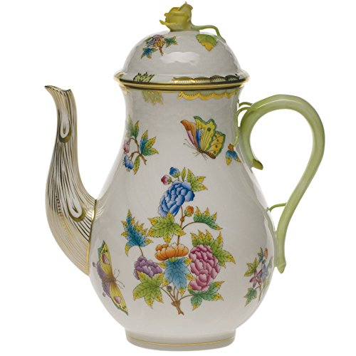 Herend Queen Victoria Green Porcelain Coffee Pot With -
