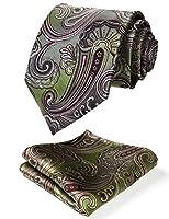 HISDERN Men's Paisley Floral Wedding Silk Neck Tie and Pocket Square Set