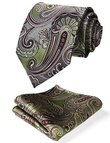 HISDERN Men's Paisley Floral Wedding Silk Neck Tie and Pocket Square Set