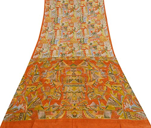 (Vintage Indian Pure Silk Multicolour Saree Abstract Printed Ethnic Craft Fabric)
