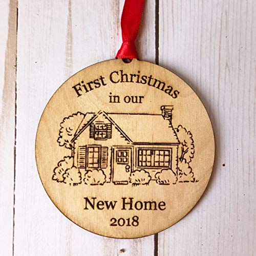 (Housewarming Gifts 2018, Dated First Christmas In Our New House Ornament New Home Rustic Xmas Farmhouse Collectible Homeowner Present Wood Laser Engraved Real Estate Agent Red Ribbon Free Gift)