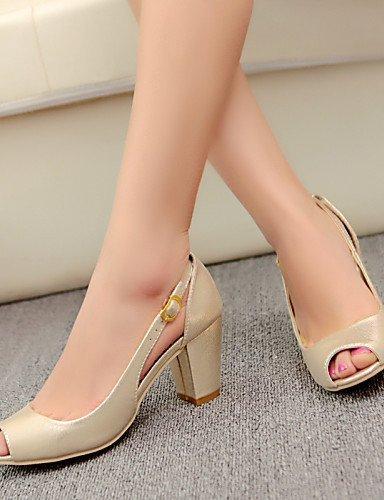 ShangYi Women's Shoes Heel Heels / Peep Toe Sandals / Heels Outdoor / Dress / Casual Blue / Red / Gold/2-8 Blue eldUfDJV3N