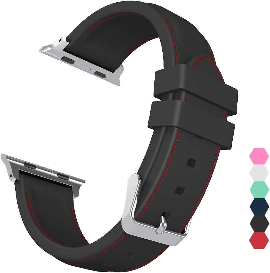 Sxciw Apple Watch Band, Silicone Stitching Replacement Sports Strap for iWatch