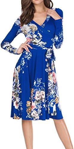 2bfced8493 Simier Fariry Women s Long Sleeve Printed Floral Slim Swing Wrap Dress With  Belt