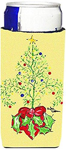 Caroline Treasures 8125CC - Botella, diseño de flor de lis, color negro y dorado, Árbol de navidad, Multicolor, Slim Can, 1