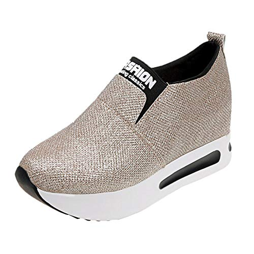 Hunauoo Slip On Ankle Boots for Women Casual Sequined Thick Bottom Flat Platform Shoes Sport Shoes Gold