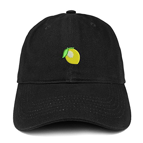 Trendy Apparel Shop Lemon Emoticon Embroidered 100% Soft Brushed Cotton Low Profile Cap - Black for $<!--$16.99-->