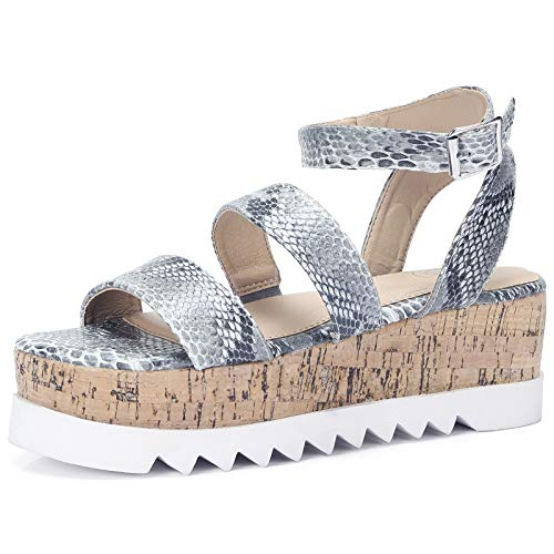 CAMEL CROWN Womens Platform Sandals Wedge Buckle Ankle Strap Open Toe Sandal Casual Two Band Slingback Python Flatform Colour Black/White Size 7.5