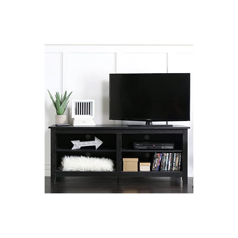 """WE 58"""" Wood TV Stand Storage Console, Bl"""