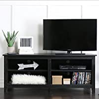 58 Inch Modern Open Shelving TV Console, Black Finish