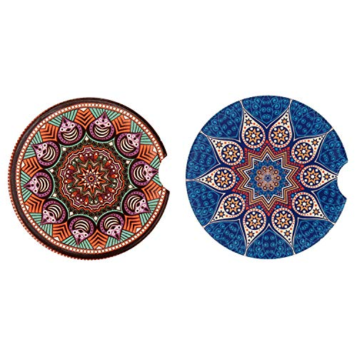 LogHog Small 2.56 Car Coasters 2 Pack,Absorbent Ceramic Coasters for Car,Auto Coasters for Cup Holder,Car Accessories Absorb Spills from Your Cup and Keep Cup Holders Clean and Dry. (Brown and Blue)