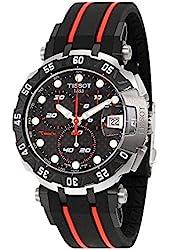 Tissot Black Dial SS Rubber Chronograph Quartz Men's Watch T0924172720100