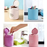 Mini Trash Can with Lid Plastic Tiny Countertop Trash Can Desktops Garbage Can with Push Botton Small Waste Trash Can for Kitchen Living Room (Beige)