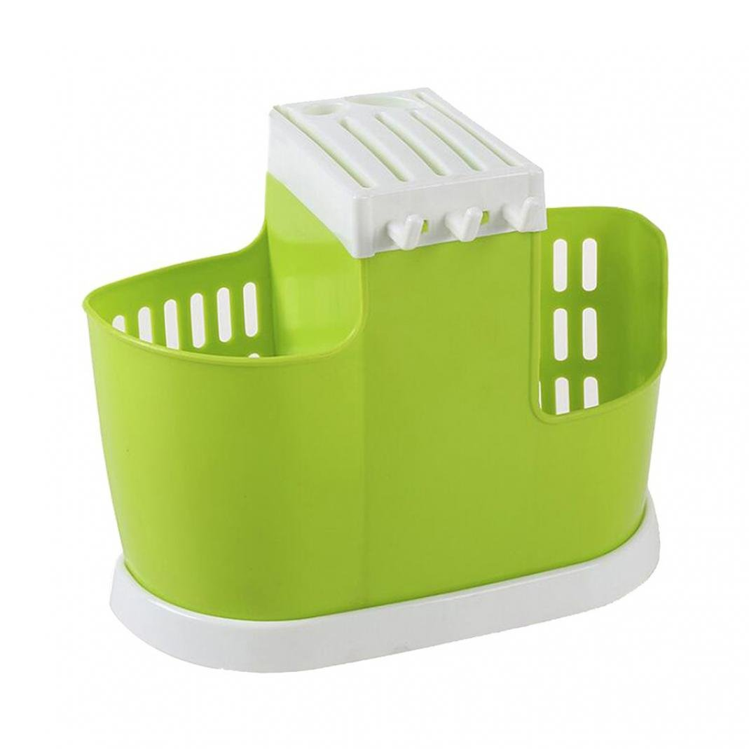 Large Capacity Kitchen Utensil Holder Knife Block Fork Chopsticks Drain Bracket Cutlery Tray Drying Rack Draining Holder Caddy Silverware Flatware Organizer (Green)