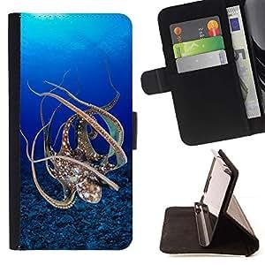 Momo Phone Case / Flip Funda de Cuero Case Cover - Pulpo azul mar subacuática Buceo - Samsung ALPHA G850