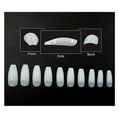 Nail Half Tips - NEWAIR Ballerina False Nails 500 Pieces Half Cover Natural Long Coffin Shape Nails Tips