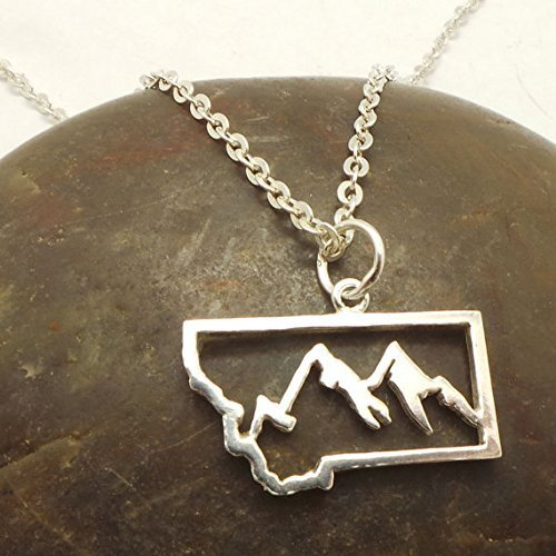 Handmade Silver Montana Mountain Wildlife Hunter Pendant Necklace