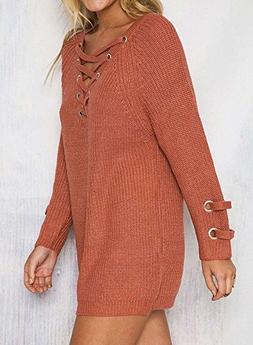 Futurino Women's Lace Up V-Neck Long Sleeve Knit Pullover Sweater Dress Top Photo #7
