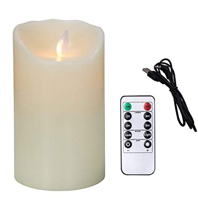 Flameless Candles Electric with Rechargeable Battery (Autbye 2020 Advanced Edition) Extra Bright Ivory Dripless Real Wax Pillars LED Smart Candle Flickering 10-Key Remote Control (1 Pack 13CM/5in): Home Improvement