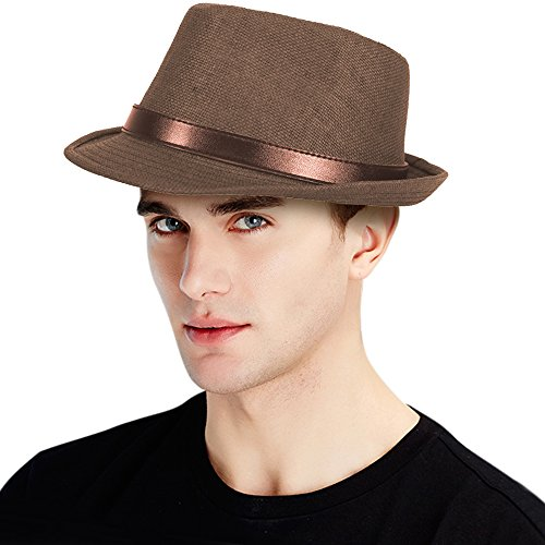 Classic Mens Straw Fedora Leather product image