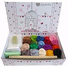 Heidifeathers Wet Felting Kit - 20 Colours of Wool, Bamboo Mat, Instructions...