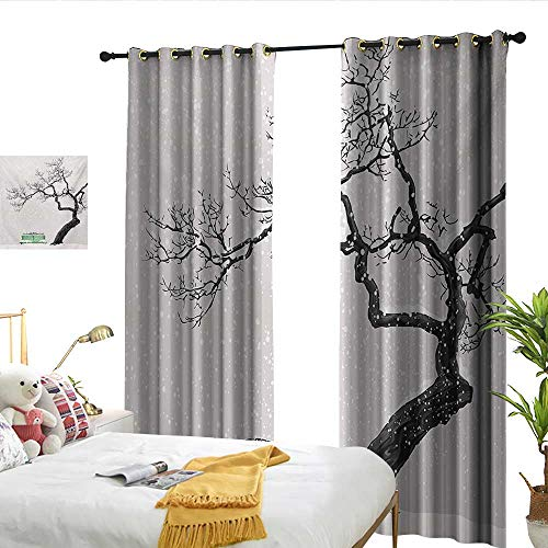 (Wen Zhouqw Tree Dramatic Winter Scenery with Retro Bench and Lonely Tree in a Cold Day Charcoal Grey Sea Green Perforated Curtain)