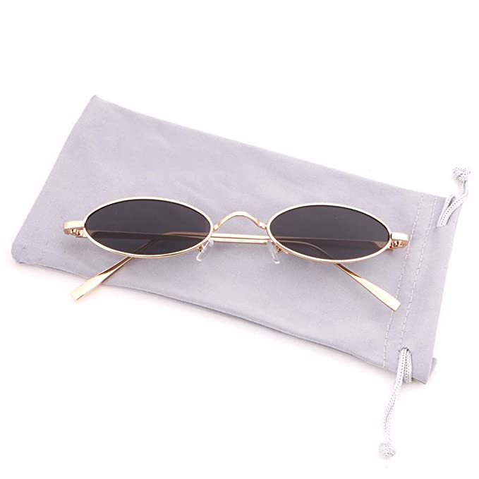 c72194aeb3 Creamily Vintage Slender Oval Sunglasses Retro Small Metal Frame Glasses  Candy Colors Eyewear Men Women (