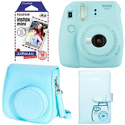Fujifilm Instax Mini 9 - Ice Blue Instant Camera, Fujifilm Instax Mini Airmail Film, Fujifilm Instax Groovy Camera Case - Blue and Fujifilm INSTAX WALLET ALBUM 108 BLUE (Instax Polaroid Blue Camera)