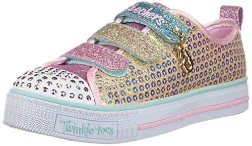 Skechers Kids Girls' Twinkle LITE-Mermaid Magic Sneaker Gold/Multi 12 Medium US Little - Toes Twinkle