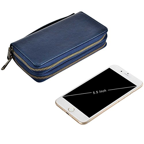Smart for HAWEE Wallet Cash Size Phone Premium Card Strap Dual Long Coin With Woman PU Big Zippered for Blue Purse Clutch 7rqWOT7A