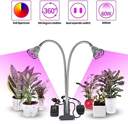Derlights 60W Grow Lamp Dual Heads, Full Spectrum Desk Clip Plant Light with 360 Flexible Metal Arms Double Switches Grow Light for Indoor Office Plant Garden Greenhouse