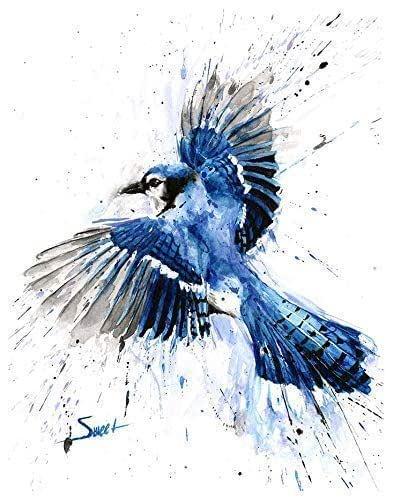 Amazon Com Blue Jay Print Watercolor Blue Jay Painting Blue Jay Decor Blue Jay Wall Art Bird Gifts Handmade