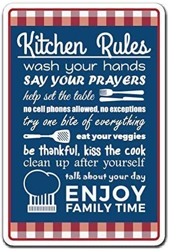 Fluse Kitchen Rules Rules Family Food Clean Cook Vintage Metal Art ...