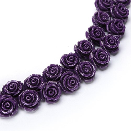 BRCbeads Top Quality 15mm PURPLE Synthetic Turquoise Carved Rose Howlite Coral Flower Carving Loose Beads 15 pcs per Bag For Jewelry Making