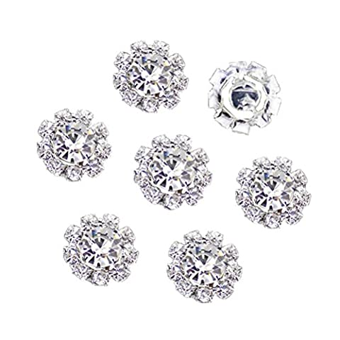 HABIBEE 16 pcs/pack 15mm New Style DIY Flatback Diamond Alloy Rhinestones Button Flower Spark Jewelry Accessory No Hole for - Flower Button