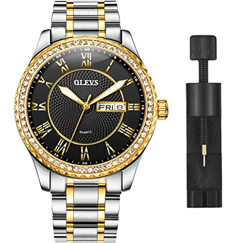 OLEVS Luxury Diamond Black Watches for Men, Calendar Water Resistace Luminous Stainless Steel Band Mens Watches, Gift for Father Son Business Casual Wristwatches Brand Watch New