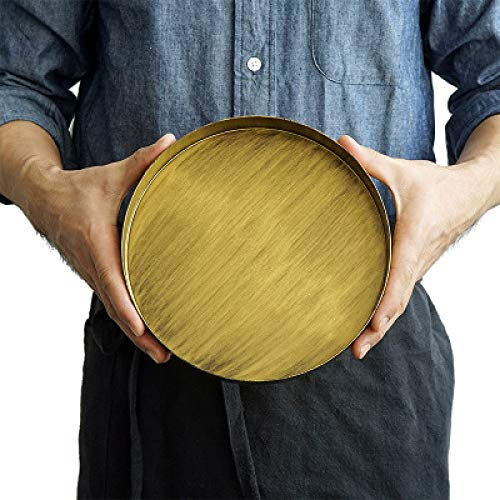 Scorpion LLC -- Vintage Gold Tray Metal Iron Round Plate Classic Old Bronze Snack Dish Home Decoration Photography Props