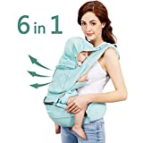 "Windsleeping 6-in-1 Ergonomic Baby Carrier with Hip Seat for All Seasons,48"" Maximum Adjustable Waistband,Comfortable & Safe Positions for Infant,Toddler,Perfect for Alone Nursing,Hiking"