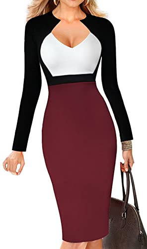 LUNAJANY Women's Chic V-neck Color-Blocked Wear to Work Sheath Dress