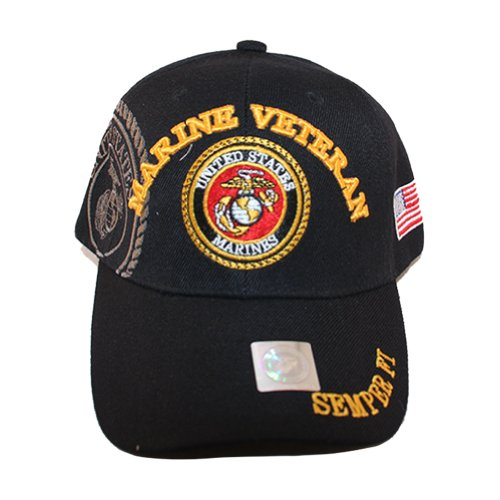 Black Usmc Cap - USMC Black Cap Marine Veteran in Gold