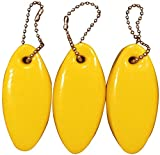 3 Pack Vinyl Coated YELLOW Floating Keychain key floats -Made in the USA- (Yellow)