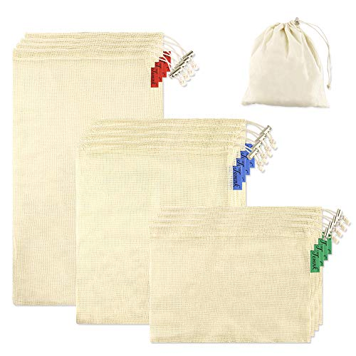 TOMNK 12pcs Reusable Produce Bags Natural Biodegradable Recyclable Cotton Mesh Bags for Grocery Shopping & Storage, Machine Washable