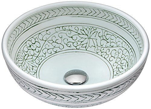 - ANZZI Cadence Modern Tempered Glass Round Vessel Bathroom Basin Sink in Deco White | Lavatory Top Mount Installation Oval Sink | LS-AZ185
