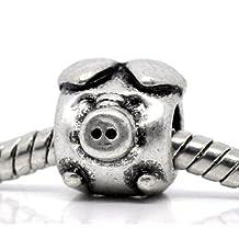 Divine Beads Pig Charm Bead fits Pandora, Biagi, Tedora, Chamilia, Bacio, Troll and other European style bracelets