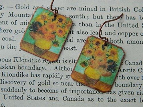 van-gogh-earrings-sunflowers-art-mixed-media-jewelry-wearable-art