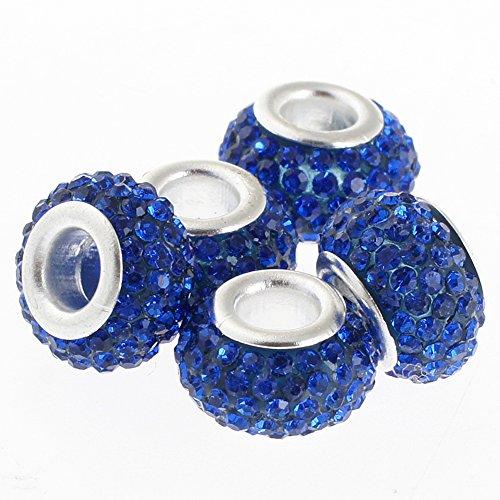 RUBYCA Big Hole Handmade Czech Crystal Slide Beads fit European Charm Bracelet (20pcs, Blue, 11mm)