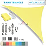 Patio Paradise 10' x 14' x 17' Sun Shade Sail with 6 inch Hardware Kit, Canary Yellow Right Triangle Canopy Durable Shade Fabric Outdoor UV Shelter - 3 Year Warranty - Custom Size Available