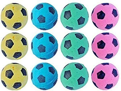 MAGIKON 12pcs Foam/Sponge Soccer Ball Cat Toy, Interactive Cat Toys, Pet Kitten Cat Exrecise Toy Balls for Real Cats Kittens, Soft/Bouncy/Noise Free 2