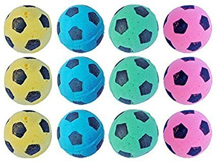 MAGIKON 12pcs Foam/Sponge Soccer Ball Cat Toy, Interactive Cat Toys, Pet Kitten Cat Exrecise Toy Balls for Real Cats…