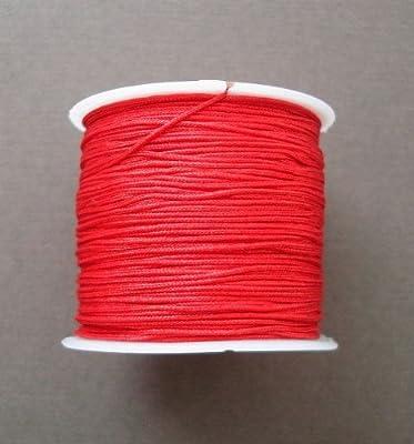 BeadsTreasure Red Nylon Thread Chinese Knotting Cord Macrame Shambala 1mm-1Roll.